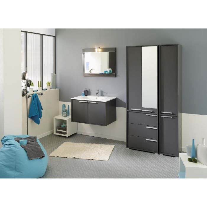 ensemble salle de bain wave d cor gris achat vente salle de bain complete ensemble salle de. Black Bedroom Furniture Sets. Home Design Ideas