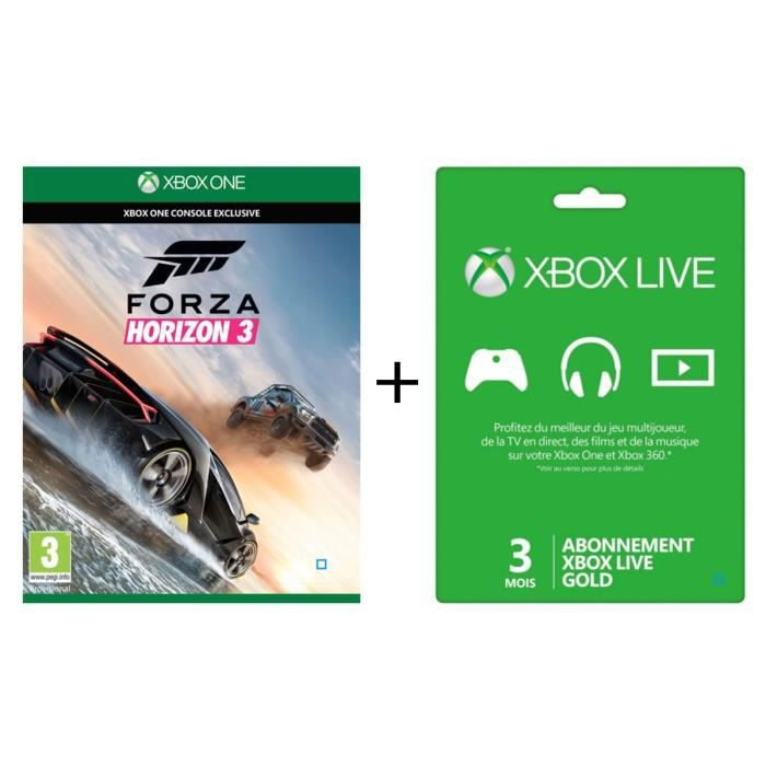 forza horizon 3 jeu xbox one abonnement xbox live gold 3 mois avis test cdiscount. Black Bedroom Furniture Sets. Home Design Ideas