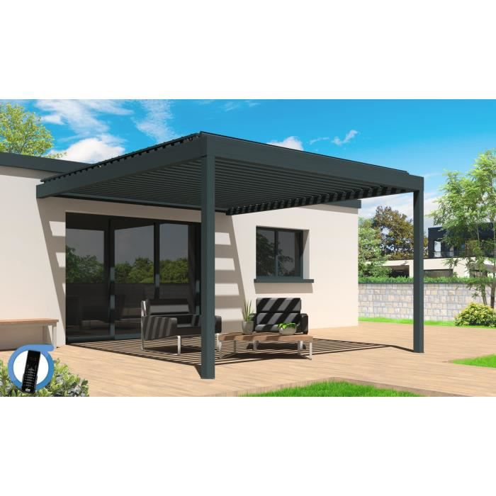 pergola motoris e bioclimatique cocoon en aluminium 4x4 04 m grise achat vente pergola. Black Bedroom Furniture Sets. Home Design Ideas