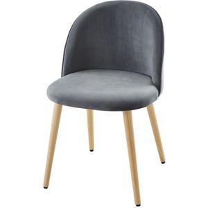 CHAISE MACARON chaise de salle à manger - Velours gris -