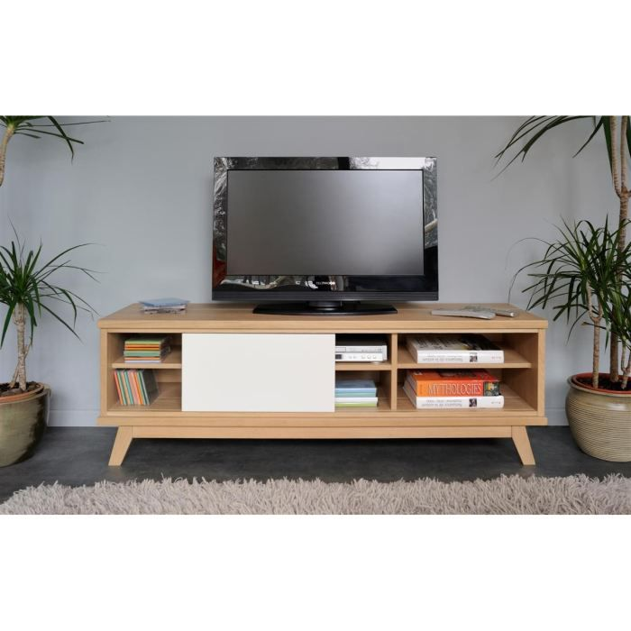 tweeny meuble tv 148 cm ch ne et blanc laqu achat. Black Bedroom Furniture Sets. Home Design Ideas