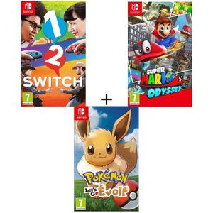 JEU NINTENDO SWITCH Pack 3 jeux Switch : Pokémon : Let's go, Evoli + 1