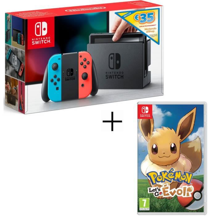 JEU NINTENDO SWITCH Console Nintendo Switch Néon avec Joy-Con bleu/rou
