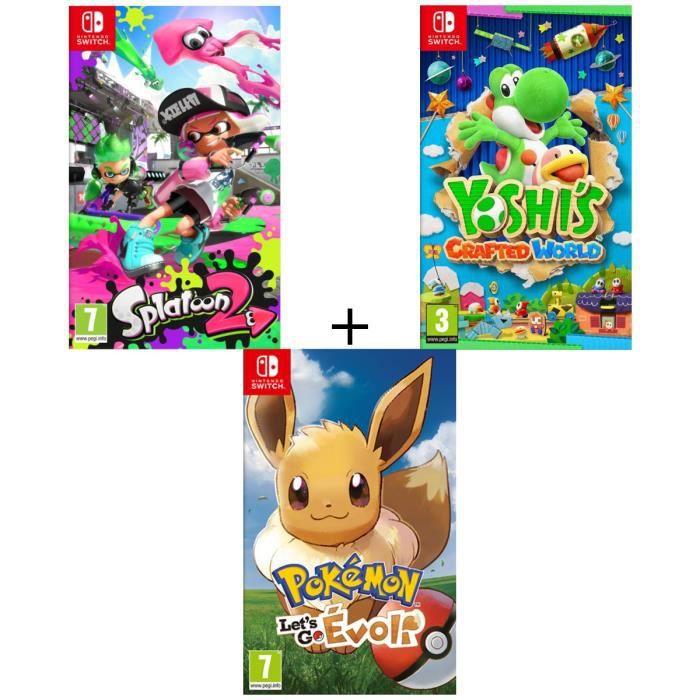 JEU NINTENDO SWITCH Pack 3 jeux Switch : Pokémon : Let's go, Evoli + S