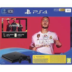CONSOLE PS4 Console PS4 Slim 1To Noire/Jet Black + FIFA 20 + 1
