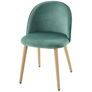 CHAISE MACARON chaise de salle à manger - Velours vert -