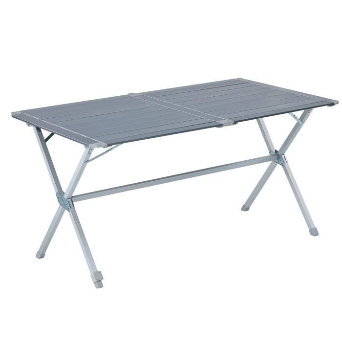 Trigano table de camping en aluminium 140 cm prix pas for Table 4 en 1 intersport