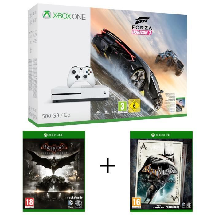 xbox one s 500 go forza horizon 3 batman arkham knight batman return to arkham achat. Black Bedroom Furniture Sets. Home Design Ideas