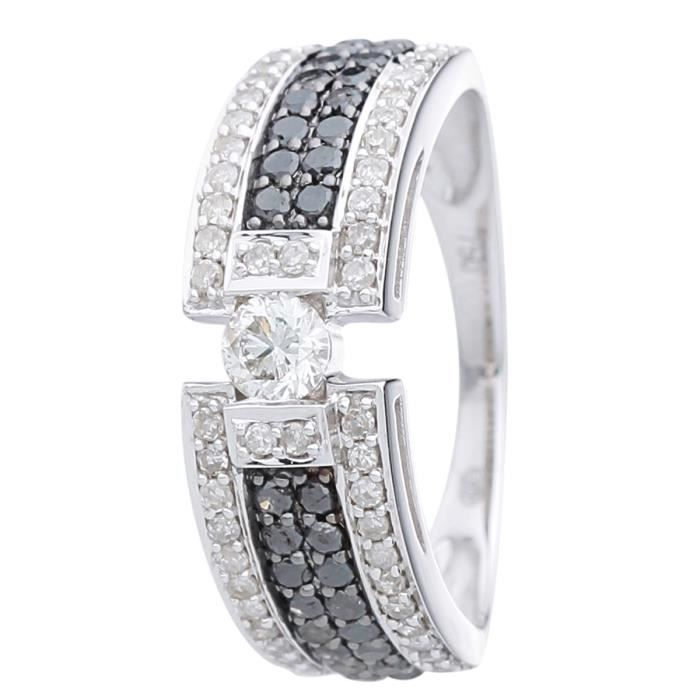 85250eb10bc64 MONTE CARLO STAR Bague Or Blanc 750° et Diamants 0,75 ct Femme ...