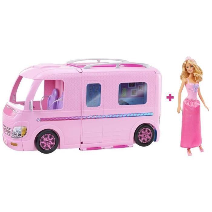 POUPÉE BARBIE - Camping-Car Barbie + 1 poupée Barbie Prin