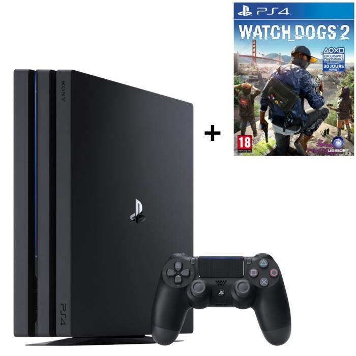 CONSOLE PS4 PS4 Pro Noire 1 To + Watch Dogs 2