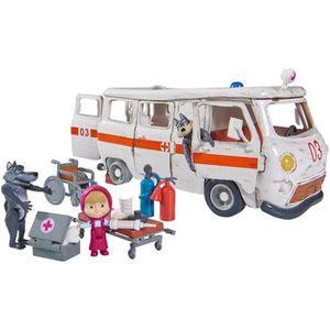 FIGURINE - PERSONNAGE MASHA & MICHKA Simba Playset Ambulance + Acs