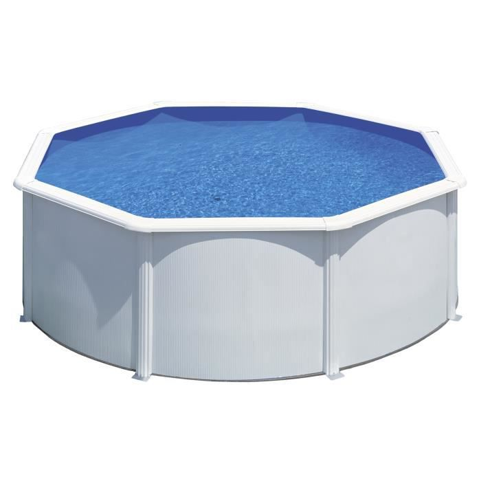 Gre kit piscine hors sol ronde en acier wet 3 50x1 20 m for Liner piscine ronde 5 50