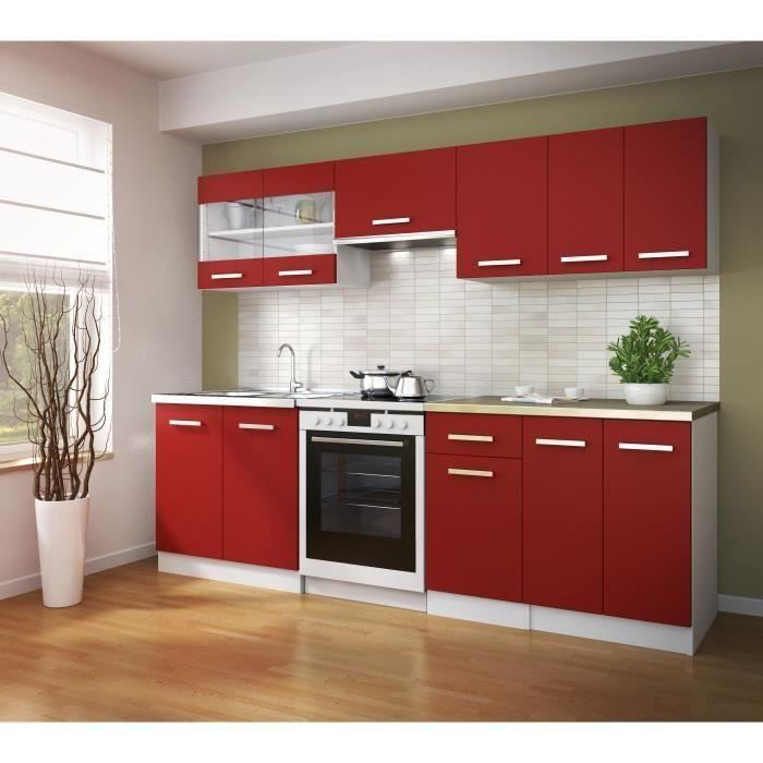 ultra cuisine quip e 2m40 avec cuisini re gaz continental edison et hotte rouge mat achat. Black Bedroom Furniture Sets. Home Design Ideas