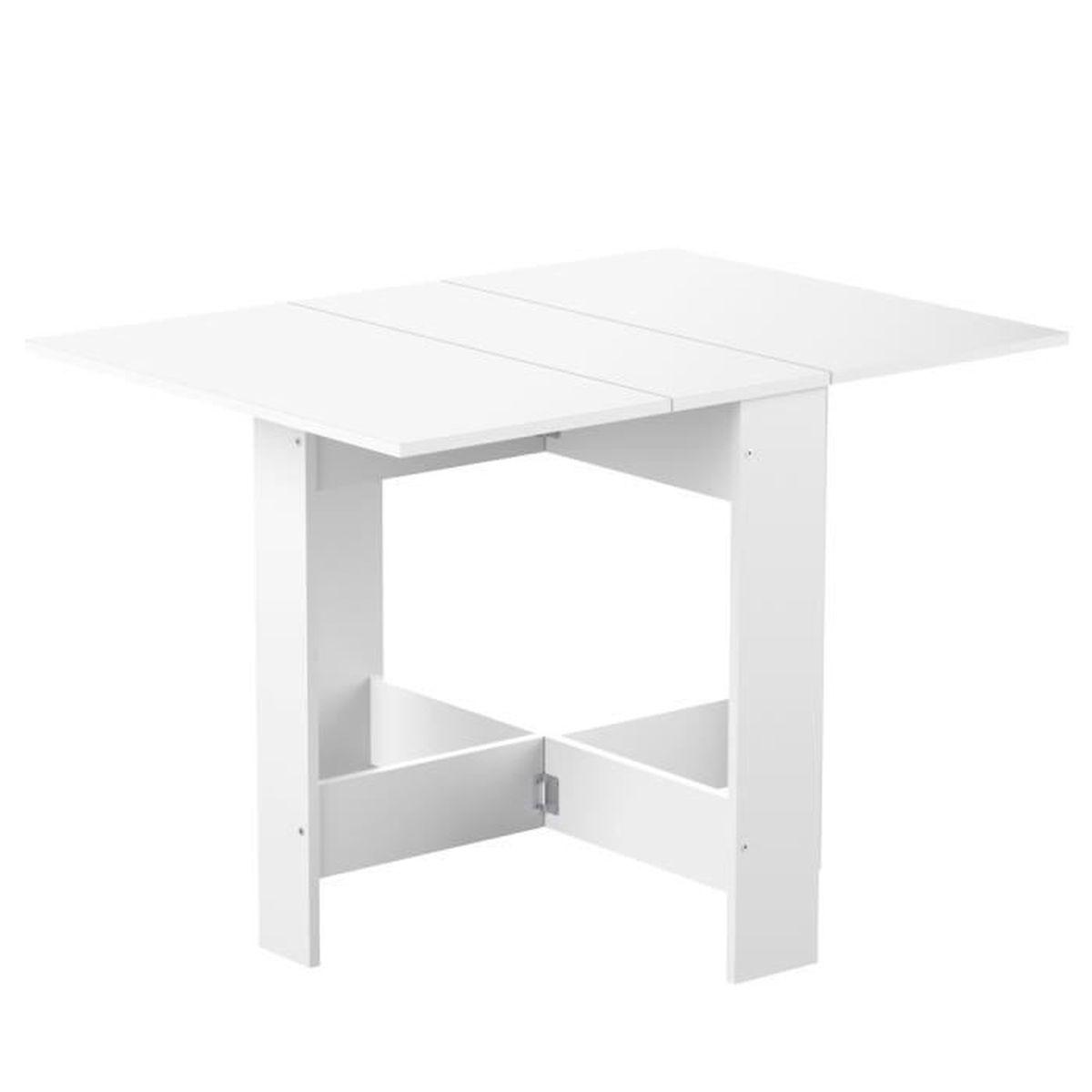 TABLE À MANGER SEULE CURRY Table pliante 28/103 cm décor blanc