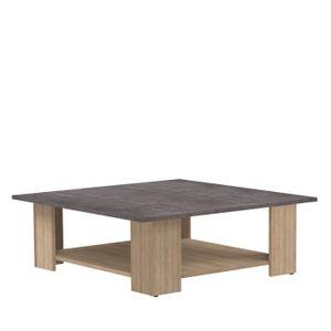 TABLE BASSE Table basse LIME - Décor chêne et béton - 89x89 cm