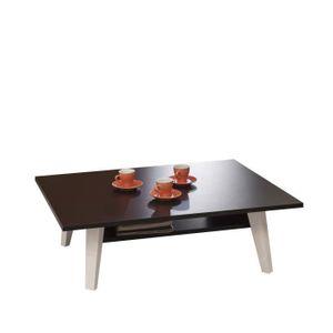 TABLE BASSE OSLO Table basse double plateaux L89 cm noir
