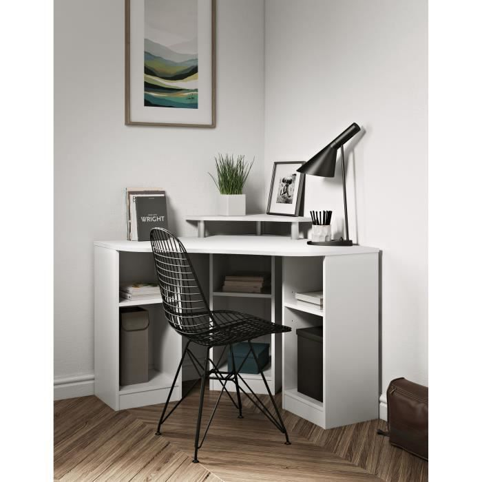 bobby bureau d 39 angle blanc 6 tag res achat vente bureau bobby bureau d 39 angle blanc bois. Black Bedroom Furniture Sets. Home Design Ideas