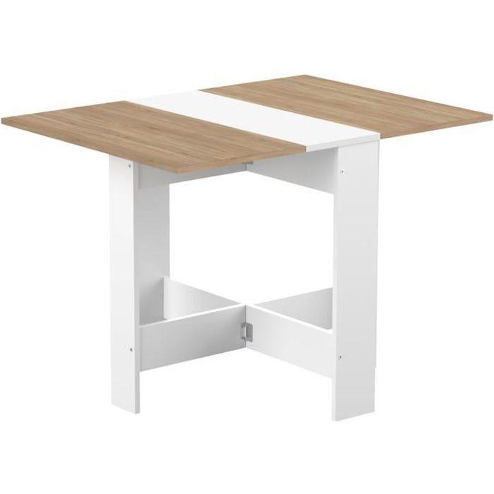 d/écor b/éton Curry Table /à Manger Pliante de 4 /à 6 Personnes Style Contemporain Blanc L103xl73 cm