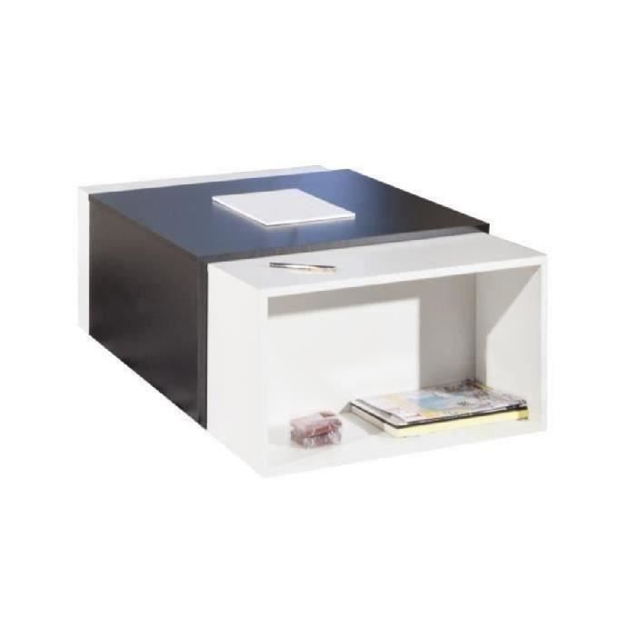TABLE BASSE CHARLY Table basse transformable 65/121x67 cm - No