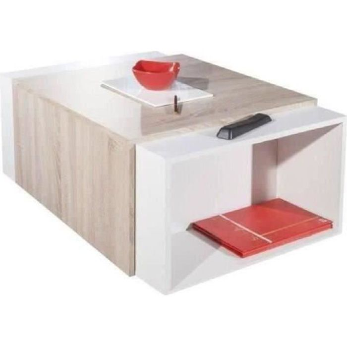 Charly Table Basse Transformable Ch Ne Et Blanc Achat Vente Table Basse Charly Table Basse