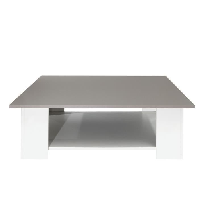 Lime table basse carr e style contemporain m lamin e blanc - Table basse carree blanc laque ...