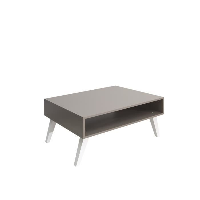 TABLE BASSE OSLO Table basse 1 niche 89 cm taupe/blanc