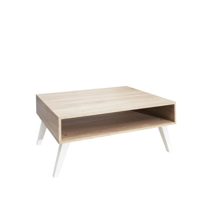 TABLE BASSE OSLO Table basse 1 niche 89 cm chêne naturel/blanc
