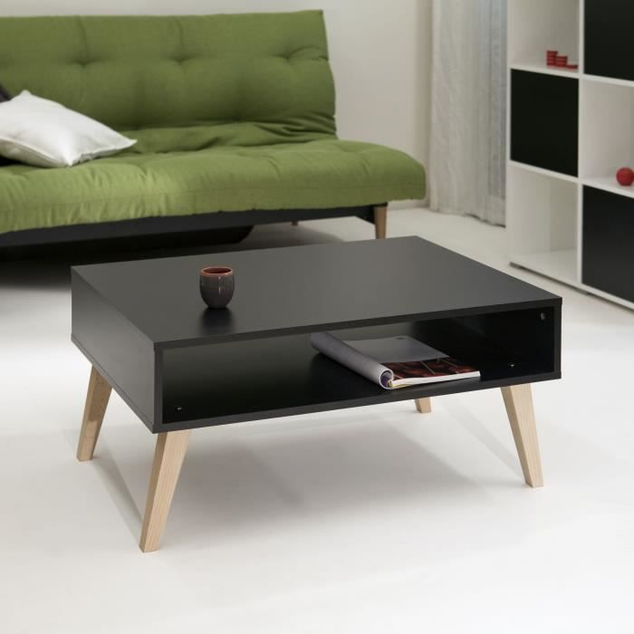 TABLE BASSE OSLO Table basse 1 niche 89 cm chêne noir/hêtre