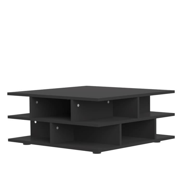 Mad table basse multicases style contemporain noir l 70 - Table basse noir ...
