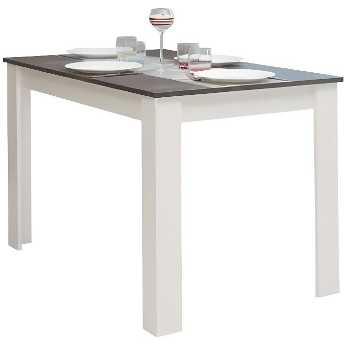 pepper table manger 4 6 personnes style contemporain m lamin e blanc mat et d cor b ton. Black Bedroom Furniture Sets. Home Design Ideas