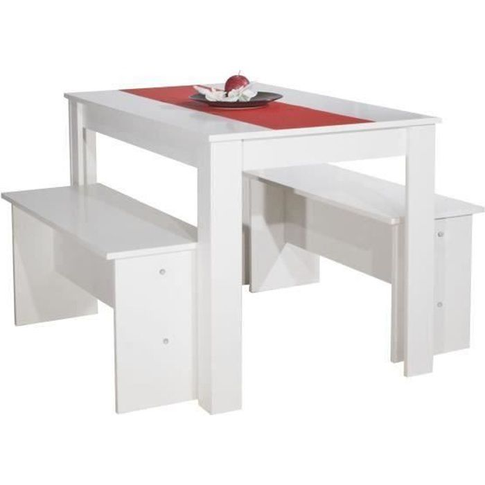 Salt table manger 4 personnes 110x70 cm 2 bancs - Table avec banc cuisine ...