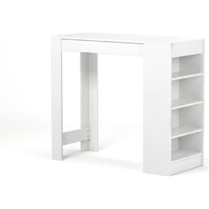 Table de cuisine table de bar haute design blanc pictures - Table bar cuisine avec rangement ...