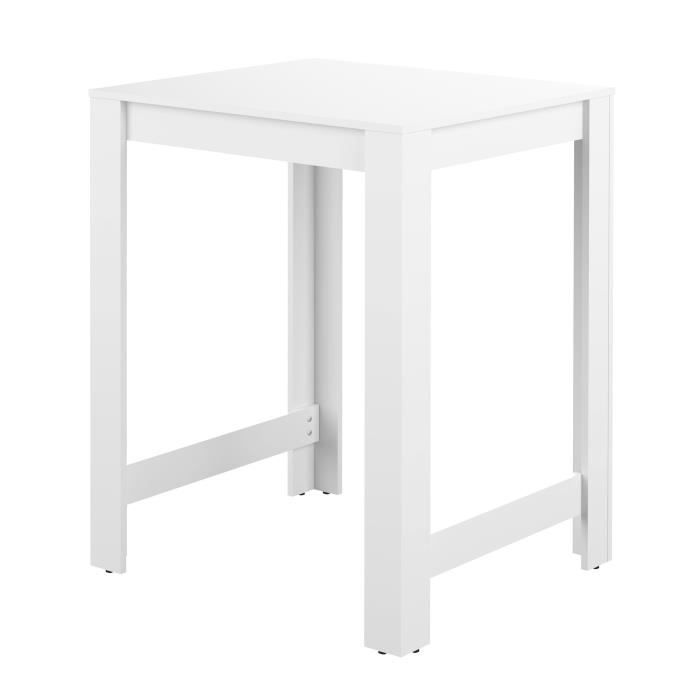Curry table bar l80 cm pi tement plateau blanc achat - Table de bar blanc laque ...