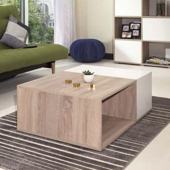 style 89 67 cm bivolume Table naturel basse mélaminée l chêne et x décor L contemporain MEGA blanc rxCQtshd