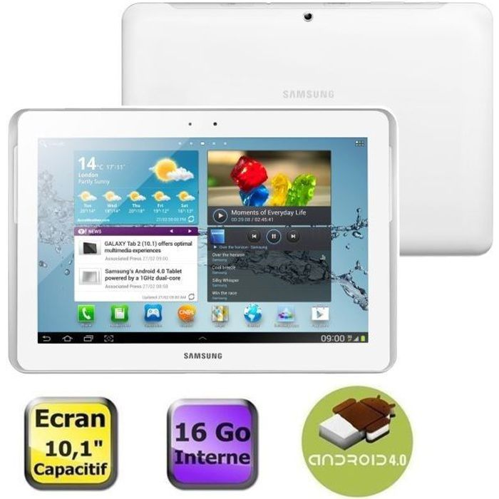 informatique tablettes tactiles ebooks samsung galaxy tab  wifi go blanc f gtpzwaxef