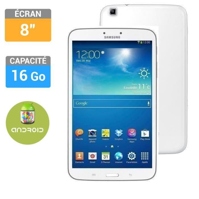 samsung galaxy tab 3 8 blanche 16go prix pas cher cdiscount. Black Bedroom Furniture Sets. Home Design Ideas