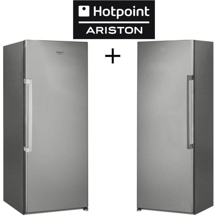 Pack HOTPOINT -ZHS6 1Q XRD-Réfrigérateur 1 porte-323L-Froid  brassé-A+-Silver + ZHU6 F1C XI - Congélateur armoire - 222L