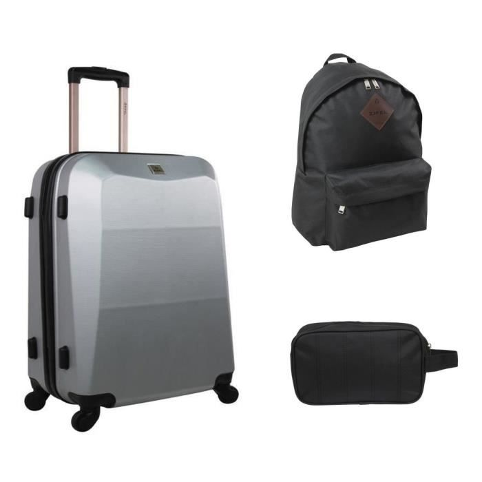 zifel valise cabine trolley 55 cm sac dos trousse de toilette homme gris noir achat. Black Bedroom Furniture Sets. Home Design Ideas