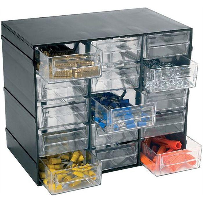 BAC DE RANGEMENT OUTILS HOBBY Casier de rangement vide noir 15 tiroirs