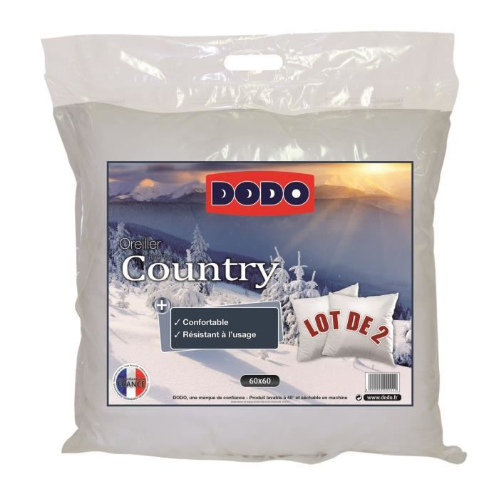 OREILLER DODO Lot de 2 Oreillers COUNTRY 60x60cm