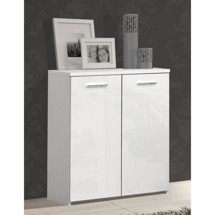 crown buffet bas blanc brillant 2 portes achat vente. Black Bedroom Furniture Sets. Home Design Ideas