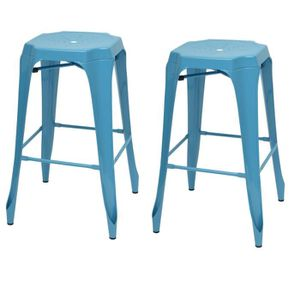 TABOURET DE BAR KRAFT Mary Lot de 2 tabourets de bar en métal bleu