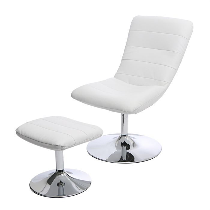 fauteuil repose pieds costi blanc achat vente fauteuil m tal simili cuir cdiscount. Black Bedroom Furniture Sets. Home Design Ideas