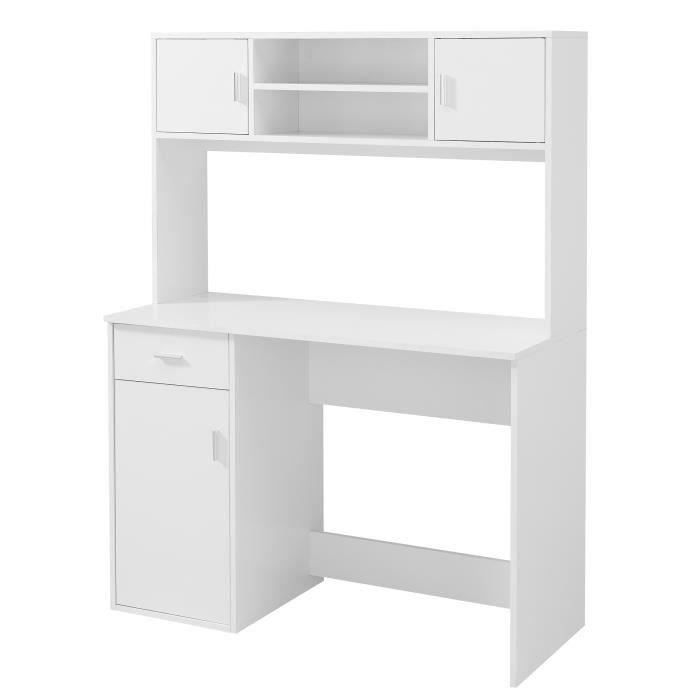 easy bureau avec rehausse classique blanc l 110 cm. Black Bedroom Furniture Sets. Home Design Ideas