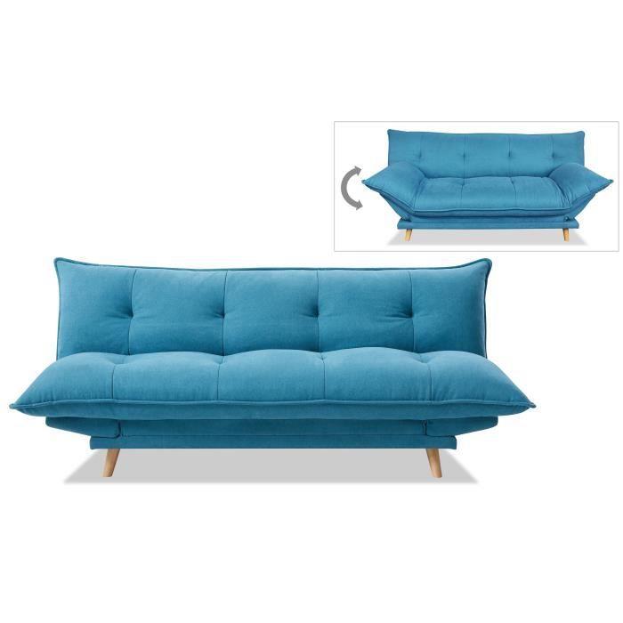 CLIC-CLAC SOFTY Banquette convertible - Tissu bleu - Pieds b