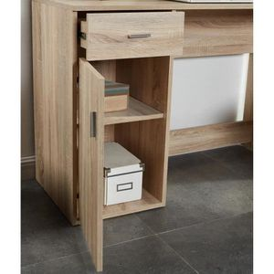 bureau avec rehausse achat vente bureau avec rehausse pas cher cdiscount. Black Bedroom Furniture Sets. Home Design Ideas
