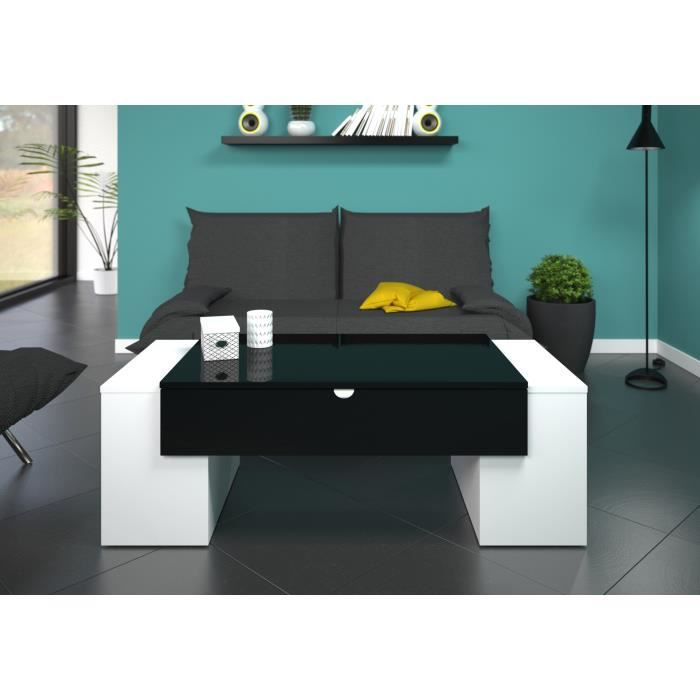 Lucky table basse 123 cm noir et blanc haute brillance for Table haute de salon