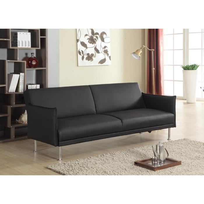 easy banquette clic clac convertible 3 places 204x86x82 cm tissu noir achat vente. Black Bedroom Furniture Sets. Home Design Ideas