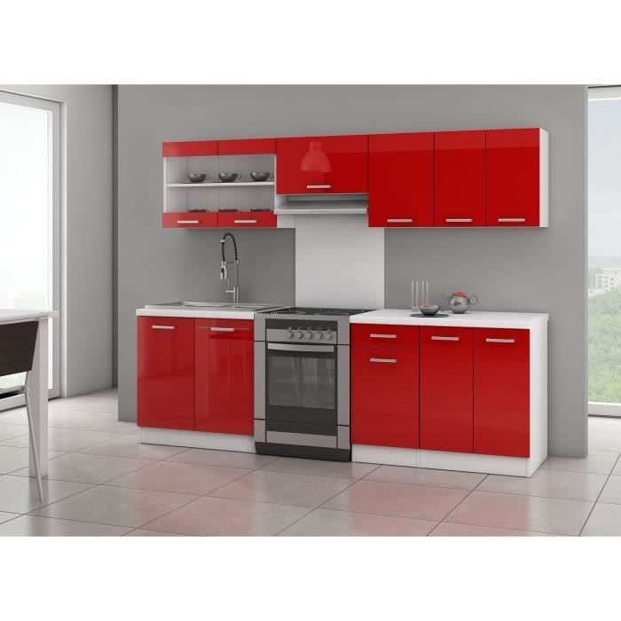 jasny cuisine compl te 2m40 rouge laqu achat vente cuisine compl te jasny cuisine. Black Bedroom Furniture Sets. Home Design Ideas